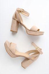 Go On Nude Suede Platform Heels 2