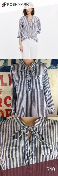 """Madewell Striped Terrace Lace-Up Shirt Size Large PRODUCT DETAILS A timeless striped button-down gets a low-key nautical vibe (thanks to a cool lace-up detail). Call it a modern rethink of one of our favorite shirts.   True to size. Cotton. Machine wash. Import. 24"""" L 21"""" side to side at the under arm Madewell Tops Blouses"""