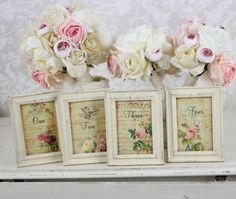 Shabby Chic Table Numbers With Distressed Frames Vintage Rustic Wedding <3