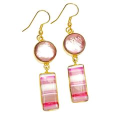 Now available on our store: Gold-plated Earri.... Check it out here! http://sitaracollections.com/products/gold-plated-earrings-biwa-pearl-and-pink-lace-agate?utm_campaign=social_autopilot&utm_source=pin&utm_medium=pin