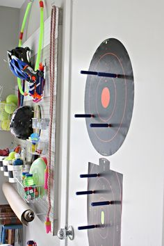 Quick and easy solution to my son's Nerf gun collection! Literally took a  half hour