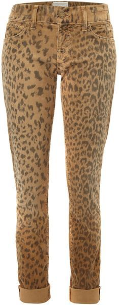 Current Elliot Skinny Leopard Print Rolled Jean
