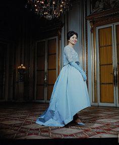 """Farah Diba, fiancee of Shah Of Iran, late 1950s"". #vintage #1950s #blue #gown #dress #fashion"