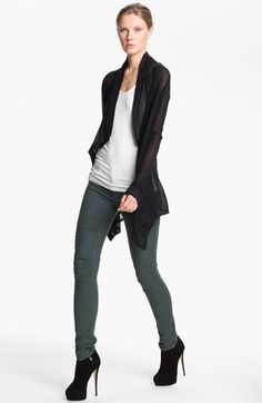 HELMUT 'Voltage Rib' Drape Front Cardigan available at #Nordstrom  the high high heels are not me but I like the black on top and in the ankle boots w the green pants.