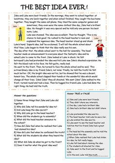 A story about two friends. There is a true or false activity and some comprehension questions. The language focus is past simple tense and the moral of the story. Reading Comprehension Activities, Reading Worksheets, Comprehension Questions, Comprehension Exercises, Printable Worksheets, Free Printables, English Reading, English Writing, Teaching English Grammar