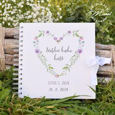 Album do kterého mohou Vaši svatební hosté zapsat své dojmy, pocity z Vaší svatby a přání do Vašeho života. Nádherná vzpomínka, kterou budete i po letech rádi pročítat.   Kniha je tvořena 40 ks vnitřních bílých listů (80 stran) o vysoké gramáži 220gms.  Jednotlivé listy jsou spojeny kvalitní kroužkovou vazbou v pevných knižních deskách.  Každá kniha je osobní, protože obsahuje Vaše jména a datum svatby.  Rozměr 20,3x20,3 cm. Books, Photograph Album, Libros, Book, Book Illustrations, Libri