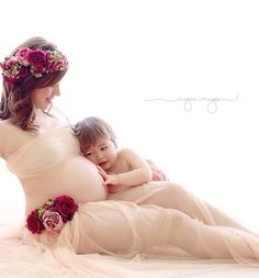 Backlit maternity - tulle top and skirt with flower crown and belt