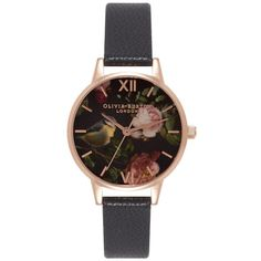 Olivia Burton Woodland Bird Watch - Black & Rose Gold ($110) ❤ liked on Polyvore featuring jewelry, watches, rose gold jewellery, black dial watches, black wrist watch, flower watches and olivia burton