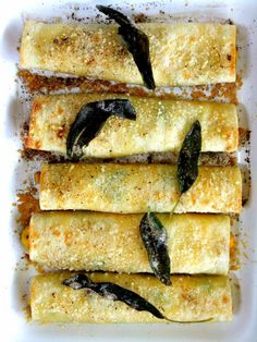 Butternut Squash Stuffed Cannelloni with Ricotta & Kale with a Brown Butter Sauce Brown Butter Sauce, Sage, Butternut Squash, Ricotta, Zucchini, Summer Squash, Salvia, Squash, Cucumber