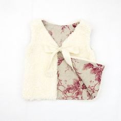 Organic Cotton Fur Baby Girl Vest, Baby Girl Faux Fur Vest, Made From Cotton Plush And Floral Linen / Cotton Lining, READY TO SHIP