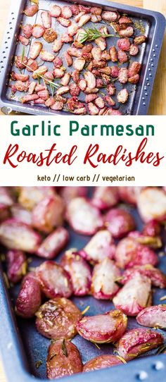 These garlic parmesan roasted radishes are infused with rosemary and are a great low carb alternative for potatoes. The perfect keto side dish and only net carbs! potato al horno asadas fritas recetas diet diet plan diet recipes recipes Keto Foods, Keto Snacks, Ketogenic Foods, Diabetic Snacks, Low Carb Side Dishes, Side Dish Recipes, Low Carb Recipes, Low Carb Vegetarian Recipes, Primal Recipes