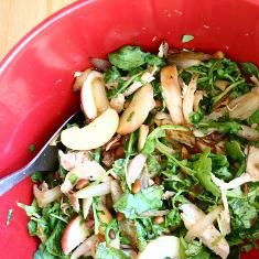 Chicken Salad With Apple, Arugula, Pine Nuts And Onion (via www.foodily.com/r/d4HrA6bV5)