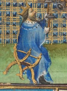14th century chair / throne ( manuscript :  Utopia, armarium codicum bibliophilorum, Cod. 107, f. 67r,  1390, France )
