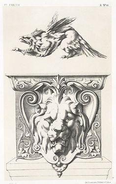 Yesterday's book was from the Internet Archive scans of the Sterling and Francine Clark Art Institute Library. Mythological Animals, Ornament Drawing, Clark Art, Lion Art, Family Tattoos, Greek Art, Art Template, Book Cover Art, Butterfly Art