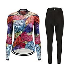 FirtySnow Women's Long Sleeve Cycling Jersey with Tights - Peach Leaf Bike Clothing Suit Thermal / Warm Windproof Fleece Lining Winter Sports Polyester Leaf Mountain Bike MTB Road Bike Cycling Women's Cycling Jersey, Cycling Bikes, Bicycle Clothing, Mtb Bicycle, Road Bike Women, Mountain Biking, Winter Sports, Clothes For Women, Long Sleeve