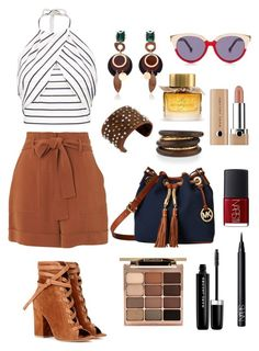 """""""Marron et rayures"""" by shanelderouge on Polyvore featuring Whistles, Gianvito Rossi, Boohoo, Preen, MICHAEL Michael Kors, Stila, Leatherock, Marc Jacobs, Marni and NEST Jewelry"""