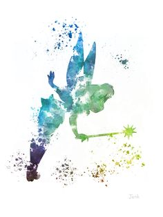 Tinker Bell Fairy Peter Pan ART PRINT 10 x 8 por SubjectArt en Etsy
