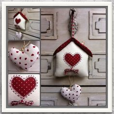 Casitas fieltro Christmas Gnome, Christmas Makes, Christmas Crafts, Christmas Ornaments, House Quilts, Fabric Houses, Valentine Heart, Valentines, Sewing Crafts