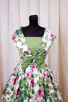1950's Dress inspiration // Roses and Ivy Sleeveless Shawl Collar Dress by GarbOhVintage, $150.00