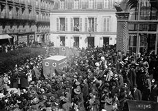 World War One. Blessing of the ambulances given to France by the Russian Czarina, outside the Russian church, rue Daru. Paris, 1915.