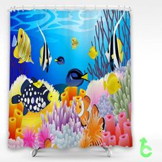 Cheap art vector underwater ocean sea color tropical coral reef Shower Curtain