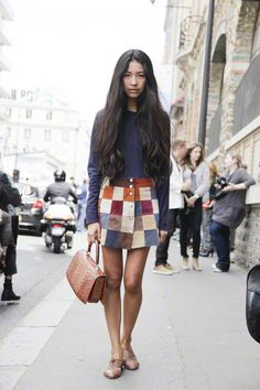 leather patchwork skirt perfection.