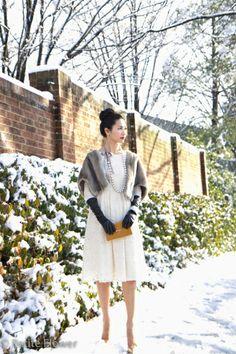White Lace Dress, faux fur caplet