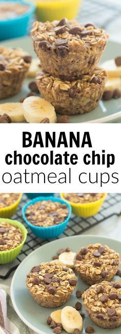 These Banana Chocolate Chip Baked Oatmeal Cups are an easy, healthy breakfast (yes, you can swap the chocolate for blueberries if you want!) that is make ahead, freezer friendly, and packed with protein and fiber. Includes how to recipe video. | breakfast recipe | brunch | healthy recipe | low calorie | oatmeal muffin | oats |
