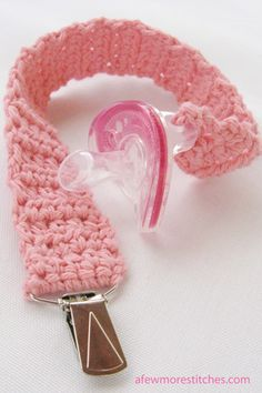 This crochet pacifier clip is very ingenius.  Tutorial by A Few More Stitches.
