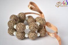 Браслет  ожерелье из ниток Шоколадный кекс  от OlgaShestova