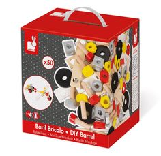 This is a real box of fun! The Janod DIY construction set includes 100 wooden pieces of nuts, screws, bolts, washers, plates and blocks. Use these to build wonderful contraptions that stimulate your child's imagination. Use the suggestions in the box o Diy For Kids, Crafts For Kids, Real Box, Diys, Wooden Buildings, Imaginative Play, Wood Toys, Building Toys, Wooden Diy