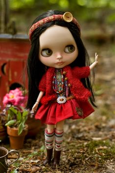Red Robin. Knitted Sweater Cotton Dress by SugarMountainArt