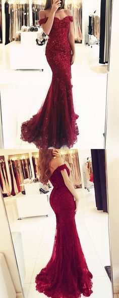 charming burgundy prom dress, lace mermaid evening dress, off-the-shoulder prom dress by Miss Zhu Bridal, $159.00 USD