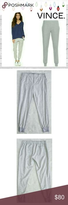 NWT Vince. Patch Pocket Jogger Sz L NWT Vince. Patch Pocket Jogger in Heather Gray. Excellent new unworn condition. No flaws. 100 % Cotton Jersey. Best anywhere with superior quality. Can be dressed up or down. Sorry no trades. Vince Pants Track Pants & Joggers