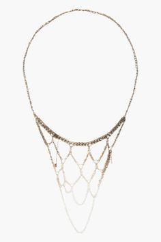 ARIELLE DE PINTO Silver ombre handmade Web Necklace