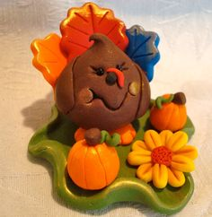 Katers Acres Meet Thanksgiving Turkey Parker - Handmade Polymer Clay Figurine