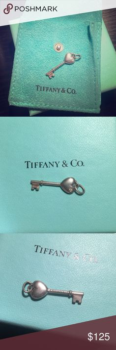 Tiffany heart pendant with diamond Authentic small Tiffany heart key pendant with diamond. Pouch included, no box. Does not include chain. Jewelry Necklaces