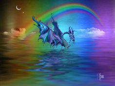 rainbow-sea-serpent Sea Serpent, Dragons, Fairy Tales, Northern Lights, Images, Photos, Rainbow, Fantasy, Sculpture