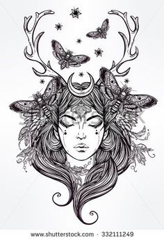Hand drawn beautiful artwork of female shaman portriat. Alchemy, religion, spirituality, occultism, tattoo art, coloring books. Isolated vector illustration.: