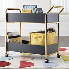 Brooks Charcoal/Gold Rolling Book Cart
