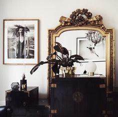 Gorgeous black white and gold vignette