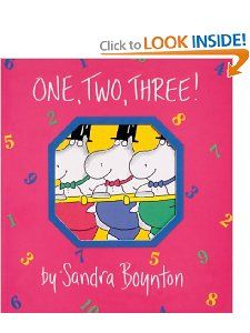 I always recommend Sandra Boynton's books to people, especially since I've discovered that she's not nearly as well known here as she is in her native U.S..  Her witty illustrations are equally appealing to adults and children and she comes up with endless clever ideas for making things like counting seem new and fresh and fun (see also, 'Hippos Go Beserk', which was our original Boynton book and is still probably our favourite.  Some of the books have now been made into awesome apps, too!