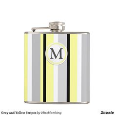 Grey and Yellow Stripes Hip Flask