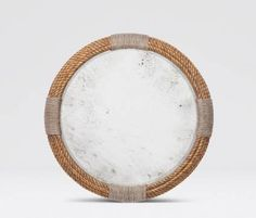 Abuza Round Gilded Faux Rope Mirror Painted Faux Rope Resinwith Antiqued Mirror Center Contrasting Faux Rope Frame Detail Also Available in White Washed Finish