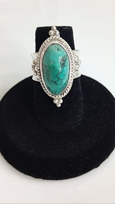 Sterling Silver Genuine Turquoise anticlastic Ring, Size 5 1/2 - Gemstone cabochon by CopperfoxGemsJewelry on Etsy