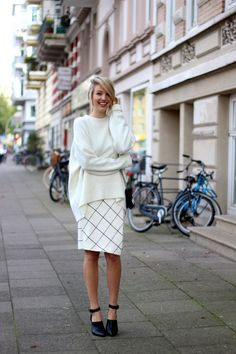 checkered skirt with oversized sweater
