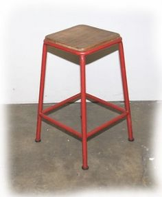 Designer Rustic Red 650mm Tubular Steel  Bar Stool - BRAND NEW