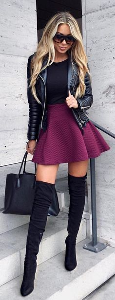#spring #outfits  Black Leather Jacket + Black Top + Burgundy Skirt + Black OTK Boots 💕 #ootd