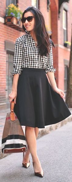 Plaid with skirt.