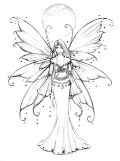 Free Fairy Coloring Page by Molly Harrison www.mollyharrisonart.com